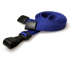Plain Navy Blue Lanyards with Breakaway and Plastic J Clip (Pack of 100)