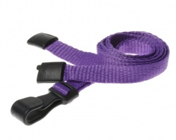 Plain Purple Lanyards with Breakaway and Plastic J Clip (Pack of 100)