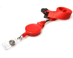 Plain Red 15mm Lanyards with Flat Breakaway and Integrated Card Reel (Pack of 50)
