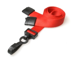 Plain Red 15mm Lanyards with Breakaway and Plastic J Clip (Pack of 100)