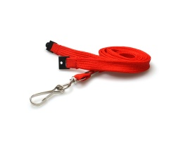 Plain Red 10mm Tubular Woven Breakaway Lanyard with Metal J-Clip (Pack of 100)