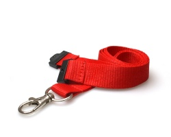 Plain Red 20mm Flat Woven Breakaway Lanyard with Metal Trigger Clip (Pack of 100)