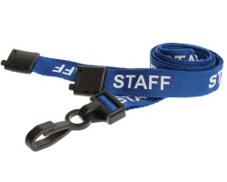 Blue Staff Lanyards 15mm with Breakaway and Plastic J-Clip (Pack of 100)
