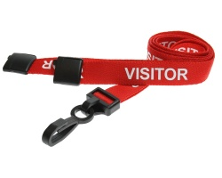 Red Visitor Lanyards with Breakaway and Plastic J Clip (Pack of 100)