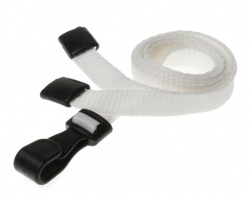 Plain White Lanyards with Breakaway and Plastic J Clip (Pack of 100)
