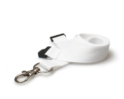 Plain White 20mm Flat Woven Breakaway Lanyard with Metal Trigger Clip (Pack of 100)