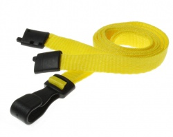 Plain Yellow Lanyards with Breakaway and Plastic J Clip (Pack of 100)