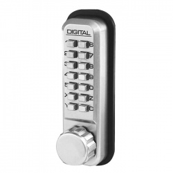 Lockey 2500 Series Digital Door Lock for Sliding Doors - Satin Chrome
