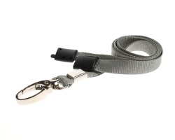 Plain Grey Lanyards with Breakaway and Metal Lobster Clip (Pack of 100)