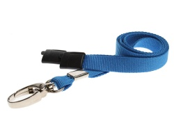 Plain Light Blue Lanyards with Breakaway and Metal Lobster Clip (Pack of 100)