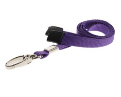Plain Purple Lanyards with Breakaway and Metal Lobster Clip (Pack of 100)