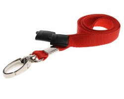 Plain Red Lanyards with Breakaway and Metal Lobster Clip (Pack of 100)
