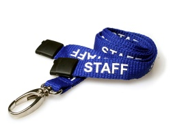 Royal Blue Staff 15mm Lanyards with Breakaway and Metal Lobster Clip (Pack of 100)