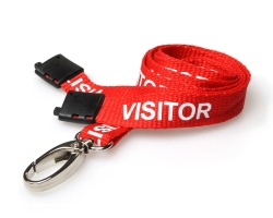 Red Visitor Lanyards with Breakaway and Metal Lobster Clip (Pack of 100)