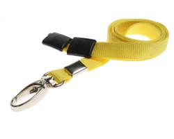 Plain Yellow Lanyards with Breakaway and Metal Lobster Clip (Pack of 100)