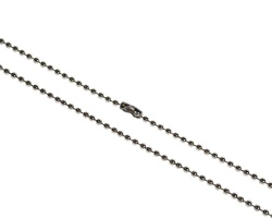 Metal Bead Chain 36 inch Necklace, Nickel Plated (Pack of 100)